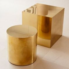 Polished Brass Cube & Round Side Table - Birgit Israel traditionally hand-crafted in Germany. Cube Side Table, Brass Side Table, Side Tables, Table Furniture, Modern Furniture, Furniture Design, Bespoke Furniture, Vintage Furniture, Furniture Outlet