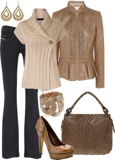"""""""Brown Leather and Cream"""" by averbeek on Polyvore"""