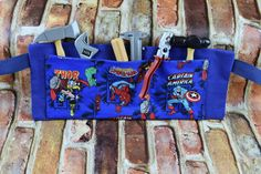 Tool Belt | Boys Craft Apron | Marvel Avengers Tool Belt | Child's Tool Apron | Boys Birthday Gift | Superhero Pretend Play Construction Art by 2KrazyLadiesCrafts on Etsy