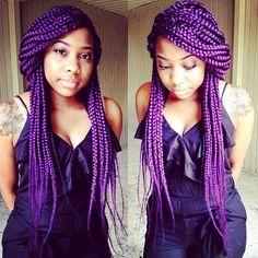 I don't typically like color, but these box braids are gorgeous! [IG = @sandrabraids_fix] #naturalhair #protectivestyle #boxbraids #purple