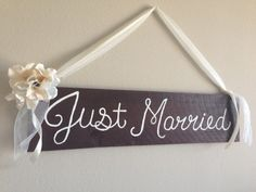 Rustic Just Married Sign/ Wedding Decor/ Rustic Cottage Chic Wood Wedding Sign on Etsy, $20.00