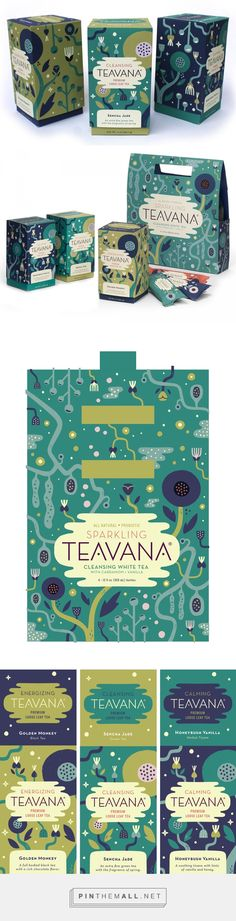 Teavana Tea Rebrand by Alexander Vidal. Even though these aren't bottle designs as such I love the simple shapes used to make the packaging designs and I still feel like although these shapes have been simplified they still feel quite elegant and sophisticated.