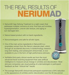 I have actually been using this for the past 3 months and the results have been amazing!!! It is the best thing I have ever used on my face ~Valarie  Nerium AD night cream can change your face overnight. Erase sun damage, wrinkles, fine lines, age spots, acne, large pores, pigmentation, cold sores, and more. Nerium AD is also a anti-viral cream.
