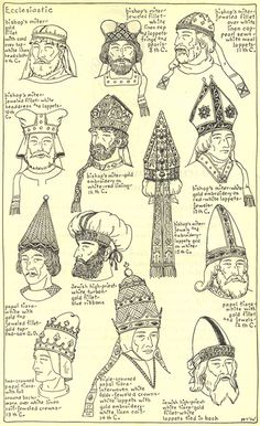 "Ecclesiastic: Chapter plate ""The Mode in Hats and Headdresses"" by R Turner Wilcox Medieval Hairstyles, Hat Hairstyles, Historical Hairstyles, Historical Costume, Historical Clothing, Figure Reference, Hat Shop, Dark Ages, Byzantine"