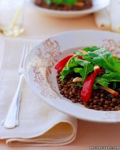 """See the """"Arugula Salad with French Lentils, Smoked Chicken, and Roasted Peppers"""" in our Baby Shower Salad and Sandwich Recipes gallery"""