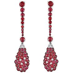 Ruby and Pave Diamond White Gold Drop Earrings