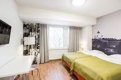 590 Hotel in Helsinki (Finland). Helsinki, Furnished Apartment, Kitchenette, Hostel, Finland, Bed, Room, Furniture, Albino