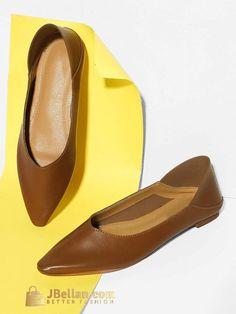 81bf6dfd72 Plain Slip On Flats Pointed Toe Heels
