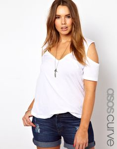 ASOS Curve | ASOS CURVE Top With Cold Shoulder at ASOS