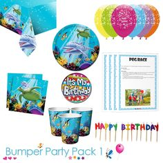 Sealife ocean party tableware bumper pack 1 with a FREE it's my birthday badge and downloadable party game packs. Set the scene for your Sealife party with this matching tableware set, it even comes with balloons and candles! Choose from 8, 16, 24 or 32 guests #sealifeparty #oceanparty #beachparty #undertheseaparty #partytableware #partysupplies Childrens Party Games, Childrens Gifts, Ocean Party, Beach Party, Birthday Badge, Party Tableware, Under The Sea Party, Party Bags, Smiley