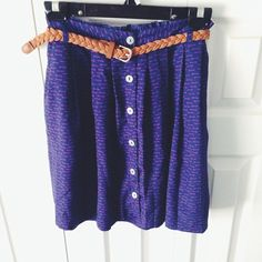 Key print button down skirt w/ braided gold belt Beautiful skirt in excellent condition. Skirts