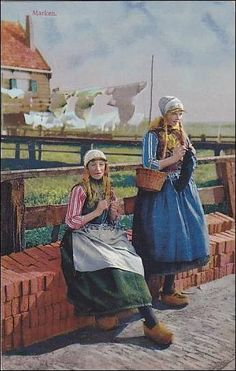 Showing Two Ladies Wearing Typical Costumes, Marken (North Holland), Netherlands, Art Through The Ages, Carl Larsson, Holland Netherlands, Knit Art, Fine Art Gallery, Vintage Postcards, Female Art, Art Images, Art Museum