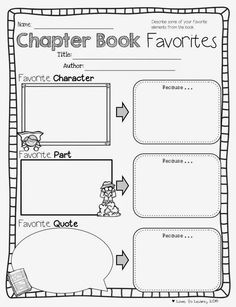 """""""Chapter Book Favorites"""" - Get students talking about their reading with this printable for use with any CHAPTER book."""