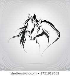 Find Vector Silhouette Two Horses stock images in HD and millions of other royalty-free stock photos, illustrations and vectors in the Shutterstock collection. Thousands of new, high-quality pictures added every day. Horse Stencil, Stencil Art, Horse Drawings, Pencil Art Drawings, Horse Tattoo Design, Motif Art Deco, Horse Logo, Horse Silhouette, Horse Crafts