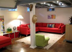 gray ceiling and stained concrete floor. Dressed column #Basement #DIY_Basement #DIY_Unfinished_Basement_Decor