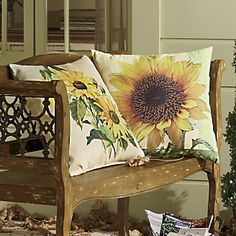 seating porch Pillow, Indoor/Outdoor Sunflower from Through the Country Door® Diy Pillows, Decorative Pillows, Cushions, Toss Pillows, Sunflowers And Daisies, Sun Flowers, Wedding Sunflowers, Sunflower Kitchen, Yellow Cottage