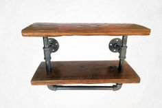 Reclaimed industrial towel rack. Made with metal pipe and reclaimed lumber. Finished in a lacquer. Towel rack with shelf measures 36 inches long by 8 inches deep by 9 inches tall. The length is the on