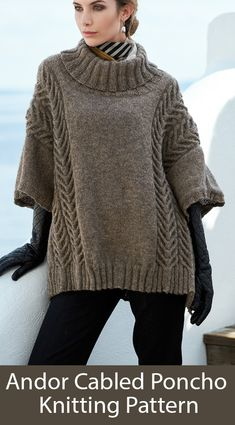 A trendy oversized poncho defined by its pairs of ornamental cables on each wide shoulder part. It is knitted flat in two parts with shoulder and neck shaping. Knit with yds DK-weight yarn using U. Poncho Knitting Patterns, Knit Patterns, Free Knitting, Beginner Knitting, Knitted Cape, Knitted Shawls, Kate Davies Designs, Poncho Sweater, Knit Crochet