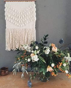 Large Cream Woven Wall Hanging by HiveHouse on Etsy