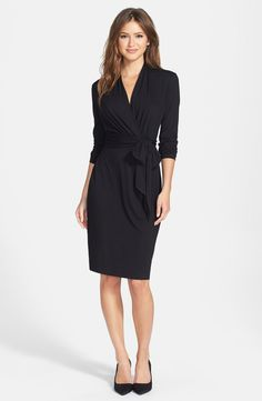 Three Quarter Sleeve Faux Wrap Dress /