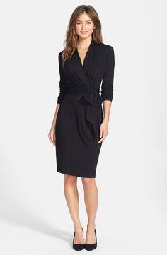 Three Quarter Sleeve Faux Wrap Dress /