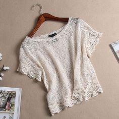Beige Short Sleeve Crochet Lace Fishnet Crop Top
