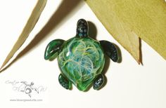 Emerald Bush Turtle - Glass Turtle Necklace Pendant  by CreativeFlowGlass at www.blownglassturtle.com