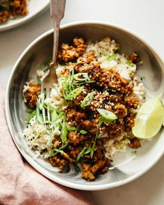 STICKY GINGER TEMPEH WITH COCONUT RICE » The First Mess // Plant-Based Recipes + Photography by Laura Wright Rice Recipes Vegan, Whole Food Recipes, Vegetarian Recipes, Cooking Recipes, Super Food Recipes, Cooking Tips, Healthy Food Blogs, Healthy Recipes, Easy Vegan Dinner