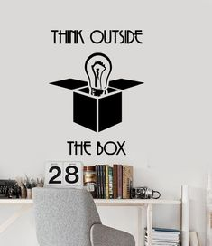 Wall Vinyl Decal Office Space Inspirational Quote Think Outside the Box Motivational Decor for Home Office Wall Design, Office Wall Decals, Modern Wall Decals, Office Walls, Office Decor, Box Office, Office Ideas, Office Designs, Vinyl Wall Stickers
