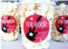 Popcorn Boxes, Rock Star, Rock n Roll Birthday Party via Etsy