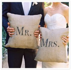 Mr. and Mrs. printed pillows