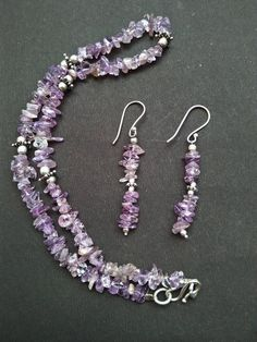 Amethyst chip bead gemstone chip beads necklace and earring. necklace oxidized silver beads and flower by gemsandjewells on Etsy Amethyst Jewelry, Amethyst Gemstone, Oxidized Silver, Silver Beads, Beaded Necklace, Unique Jewelry, Handmade Gifts, Drop Earrings, Gemstones