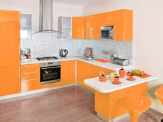 Orange and White Kitchen Cabinets Design Ideas