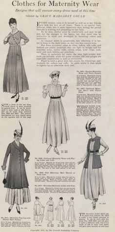 """""""Clothes for Maternity Wear"""" in """"Woman's Home Companion"""": July 1915, Volume 42, No. 7, Cromwell Publishing Company."""