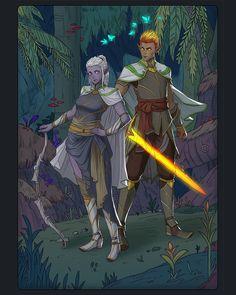 [OC] Kira and Teilas of Silver Cloak : characterdrawing Elf Characters, Fantasy Characters, Sword Mage, High Elf, All Hero, Dark Elf, Character Drawing, Character Design Inspiration, Cloak