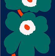 Fabric: Unikko Anniversary HW Sateen fabric in dark blue, green, orange Blue Green, Dark Blue, Marimekko Fabric, Fashion Fabric, 50th Anniversary, Textile Design, Superhero Logos, Fabrics, Textiles