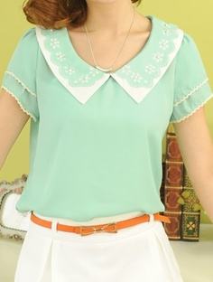 Green Lapel Short Sleeve Hollow Rivet Loose Chiffon Shirt