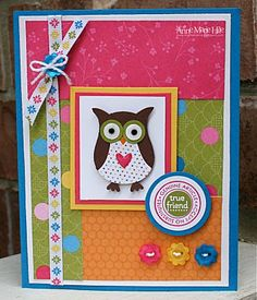 Stampin' Anne: Whooo's a True Friend? using Stampin Up owl Punch Scrapbooking, Scrapbook Cards, Scrapbook Albums, Owl Punch Cards, Owl Card, Printable Crafts, Bird Cards, Cards For Friends, Handmade Birthday Cards