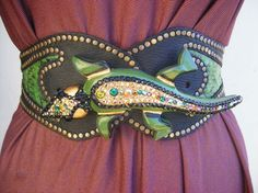Reptile show stopper belt, lucky green color snake skin inset, waist cincher on Etsy, $350.00
