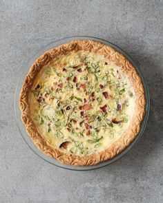 This recipe makes enough for one quiche baked in a nine-inch springform pan, or two quiches baked in eight- or nine-inch pie plates.