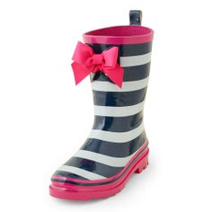 striped rain boot with bow #girly #cute