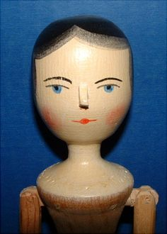 Artist Fred Laughon Peg Wooden Doll in Original Box
