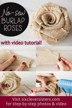 Easy DIY Burlap Roses that can be made in minutes, a no sew easy project! Post includes a video tutorial. NO-SEW DIY Burlap Roses - step-by-step photo instructions and video tutorial! Make these rustic DIY burlap roses in just one minute! Burlap Projects, Burlap Crafts, Easy Sewing Projects, Fabric Crafts, Fabric Roses Diy, Burlap Decorations, No Sew Crafts, Diy Burlap Wreath, Easy Fabric Flowers