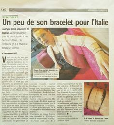"New article this day in ""l'avenir Huy Waremme"" on Maryse Heya and her bracelet Bandham for Italy.  #jewellery"