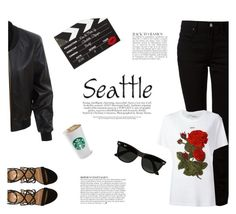 """""""Seattle in the Summer"""" by katsin90 ❤ liked on Polyvore featuring T By Alexander Wang, LE3NO, Off-White, Aquazzura, Charlotte Olympia, Ray-Ban, Anja and outfitsfortravel"""