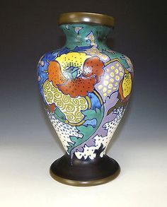 Gouda-Dutch-Pottery-Bluemen-Pattern-Vase-Art-Deco