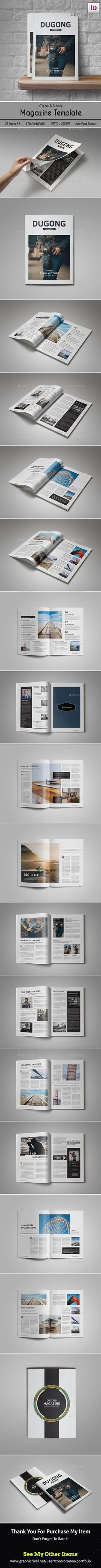 Clean & Simple Magazine Template 	InDesign INDD. Download here: https://graphicriver.net/item/clean-simple-magazine/17364575?ref=ksioks