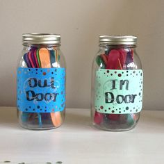 For entertaining kids in the summer write activities on Popsicle sticks and make a jar for indoor and outdoor activities!