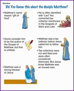 Did You Know this about Matthew (Story) - Kids Korner - BibleWise - ostern Sunday School Kids, Sunday School Activities, Bible Activities, Sunday School Lessons, Sunday School Crafts, Bible Games, Kids Class, School Staff, Bible Study For Kids