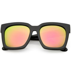 85f0eeec822 Bold Horn Rimmed Sunglasses Thick Arms Colored Mirror Square Lens 58mm